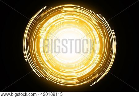 Abstract Neon Circle Lines With Empty Copy Space Inside Isolated On Black Background. Colorful Led L