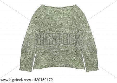 Green Melange Knit Pullover Isolated Over White