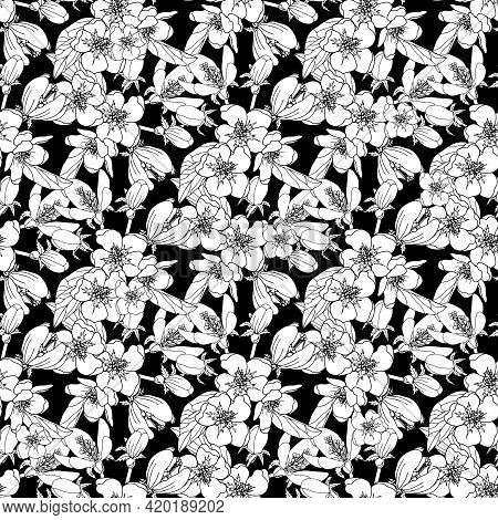Vector Seamless Pattern With Flower On The Black Background. Flower Seamless Background. Vector Flow