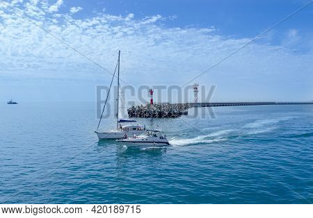 Sochi, Russia, May 03, 2021. Panoramic View Of Sochi Coast Line From The Black Sea At Mountains Back