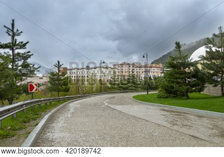 Sochi, Russia - May 4, 2021: Modern Fashionable Novotel Resort Krasnaya Polyana Sochi Hotel On Mount