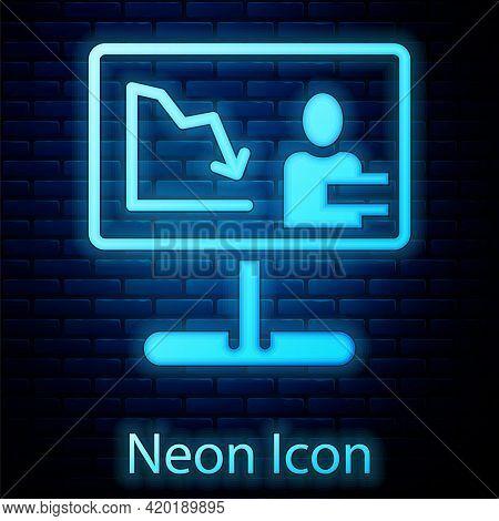 Glowing Neon Global Economic Crisis News Icon Isolated On Brick Wall Background. World Finance Crisi