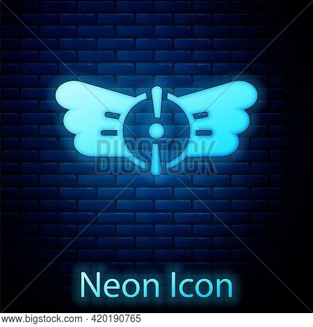 Glowing Neon Aviation Emblem Icon Isolated On Brick Wall Background. Military And Civil Aviation Ico