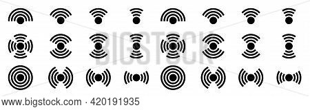 Wireless Network Signal Flat Icons Set. Signal Distribution Icon For Applications, Websites And Othe