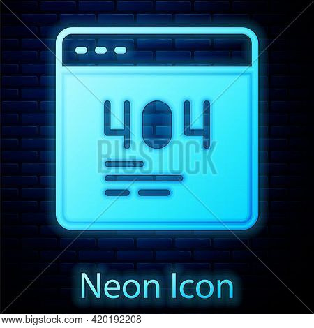 Glowing Neon Page With A 404 Error Icon Isolated On Brick Wall Background. Template Reports That The