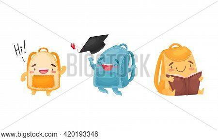 Cartoon Schoolbags Or School Rucksack Reading Book And Greeting Vector Set