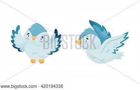 Cute Blue Bird Soaring And Perching Vector Set