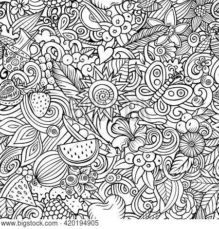 Cartoon Doodles Summer Seamless Pattern.