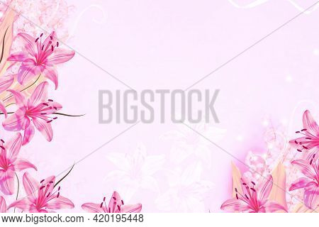 Lilies. Abstract Floral Background Of Spring Flowers Lilies Of The Valley
