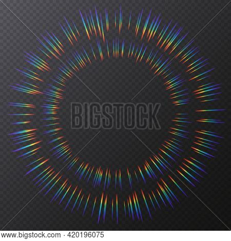 Light Refractions Frame, Background With Rainbow Sunlight Effect, Holographic Rays With Transparency
