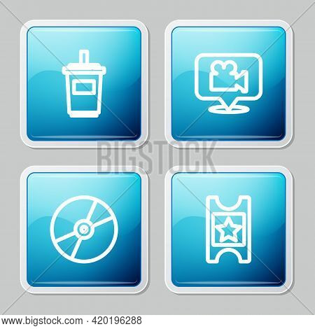 Set Line Paper Glass With Water, Camera And Location, Cd Or Dvd Disk And Cinema Ticket Icon. Vector