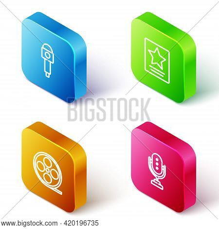 Set Isometric Line Microphone, Hollywood Walk Of Fame Star, Film Reel And Icon. Vector
