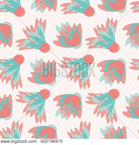 Wild Meadowflower Blossom Seamless Vecor Pattern Background. Abstract Pink Blue Feathered Painterly