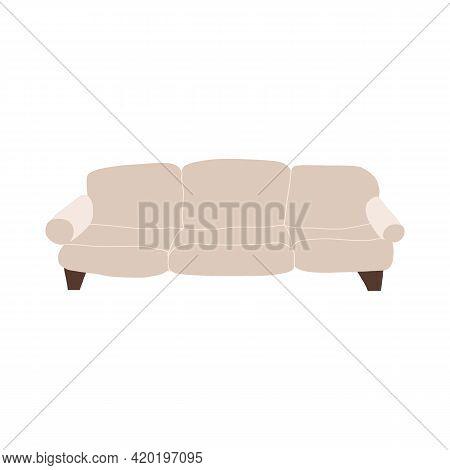 Stylish Living Room Furniture. Modern Sofa Milky White Sofa. Cartoon Style Vector Isolated Illustrat
