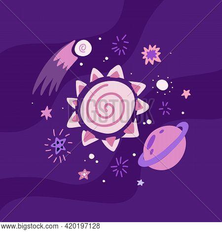 Childrens Illustration Of A Meteorite, Sun, Saturn, Stars And Curls On Violet Background. Cosmic Lum