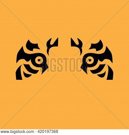 Tiger Icon Head Silhouette, Tiger- Simbol 2022 Year.  Eyes Of A  Tiger Close Up. Vector Flat Illustr