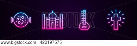 Set Line Chicken Tikka Masala, Taj Mahal, Sitar And Christian Cross. Glowing Neon Icon. Vector