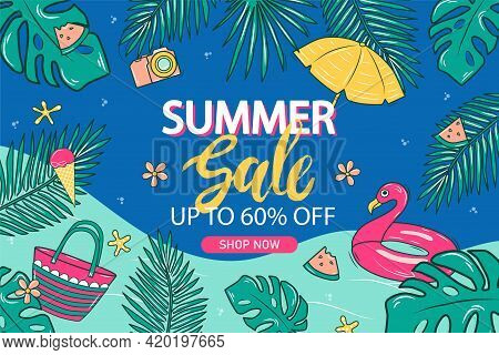 Summer Sale Banner Background Template For Websites, Flyers, And Advertising Products. With Green Le