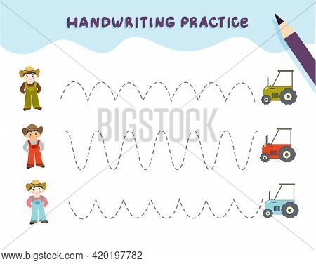 Handwriting Practice For Preschool Children. Tracing Lines With Colorful Farmer. Educational Kids Ga