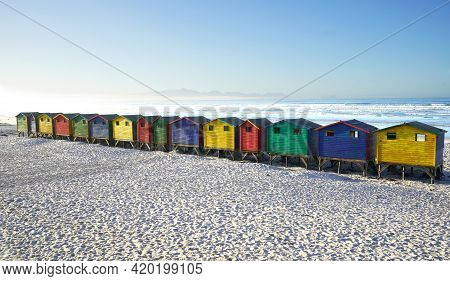 Bright Beach Changing Rooms At Muizenberg, Cape Town