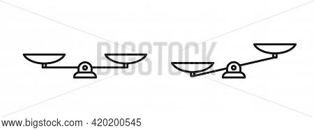 Line Mechanical Scales Balance Icon Set Isolated On White. Justice, Law Scale. Vector Illustration.