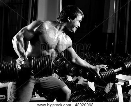very power athletic guy execute traction with dumbbells exercise on broadest muscle of back in sport hall black-and-white photo poster