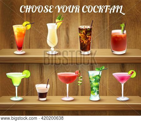Drinks Realistic Composition With Two Shelves And Various Cocktail Glasses Of Different Shape And Co