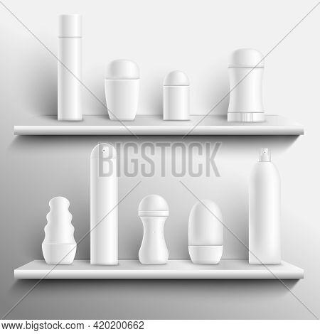 White Blank Deodorants Spray Sticks And Roll-on Types Antiperspirant On Shelves Realistic Mock-up Ve