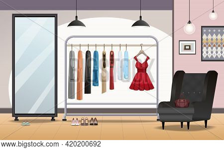 Cloakroom Storage Room Interior With Foot Wear Under Clothing Rack Standing Mirror Armchair Lighting