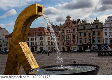 Pilsen, Czech Republic, 1.09.2019 - Golden Fountain And Historic Buildings Of Market Republic Square