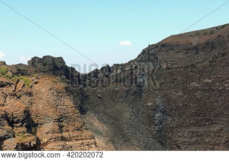 Interior Of The Large Extinct Volcano Named Vesuvius Near The City Of Naples In Southern Italy