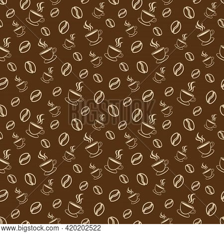 Seamless Contour Pattern Of The Coffee In The Grains And A Cup. Vector Illustration.