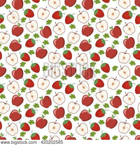 Seamless Pattern From A Juicy Ripe Apple, Halves And A Delicious Strawberry. This Fruit Design For Y
