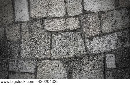 Grey Color Random Pattern Brick Block On Concrete Wall Abstract Background