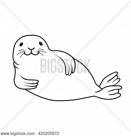 Vector Hand Drawn Outline Doodle Illustration Fur Seal Isolated On White Background. Happy Seal Lyin