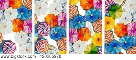 Multi Colored Umbrella Watercolor Painting Top View Colorful Of Summer Holiday And Tourism Sea, Beac