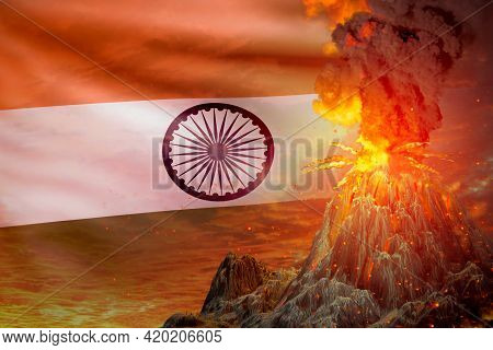 Stratovolcano Blast Eruption At Night With Explosion On India Flag Background, Troubles Because Of E
