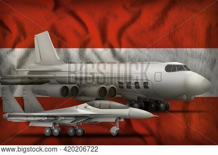 Air Forces On The Austria Flag Background. Austria Air Forces Concept. 3d Illustration