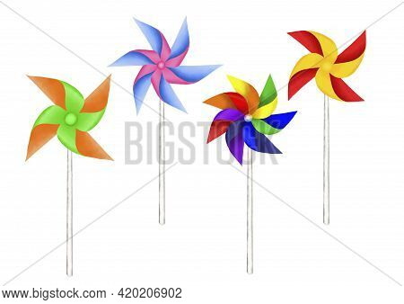 Colorful Paper Windmill Drawing Illustration Isolated On White Background And Clipping Path