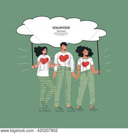 Volunteering Community Concept Charity Organization Volunteer Group. Teamwork, Network And Unity Of