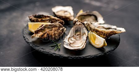 Beautiful picture of delicatessen oysters served with lemon on black round platter