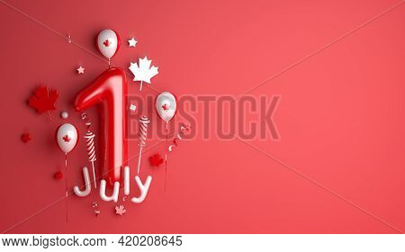 Happy Canada Day 1 July Decoration Background With Balloon Firework Maple Leaves Copy Space Text, 3d