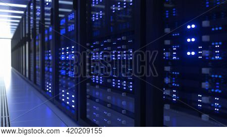 Data Center Computer Racks In Network Security Server Room Cryptocurrency Blockchain Mining 3D illustration