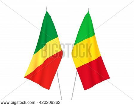 National Fabric Flags Of Mali And Republic Of The Congo Isolated On White Background. 3d Rendering I