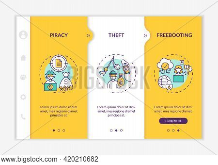 Copyright Contravention Types Onboarding Vector Template. Responsive Mobile Website With Icons. Web