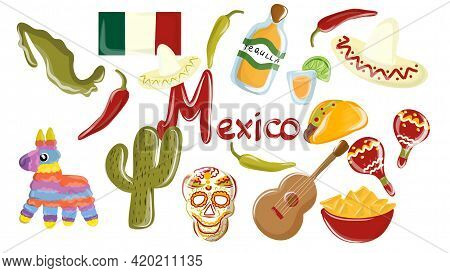 Big Vector Set Of Mexico Elements, Skeleton Characters, Animals In Flat Hand Drawn Style Isolated On