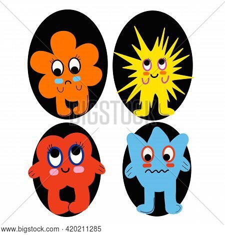 Cartoon Monsters Set. Colorful Toy Cute Monster. Flat Vector Collection.