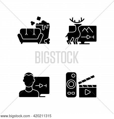 Broadcasting Services Black Glyph Icons Set On White Space. Tv Series, Documentaries, Movies Streami