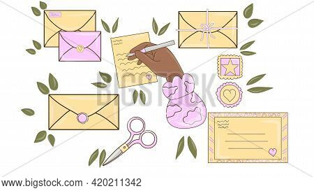 Different Envelopes. Letter In Envelope, Postcard Delivery And Handmade Craft Card. Post And Mail Se