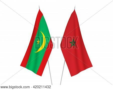 National Fabric Flags Of Morocco And Islamic Republic Of Mauritania Isolated On White Background. 3d